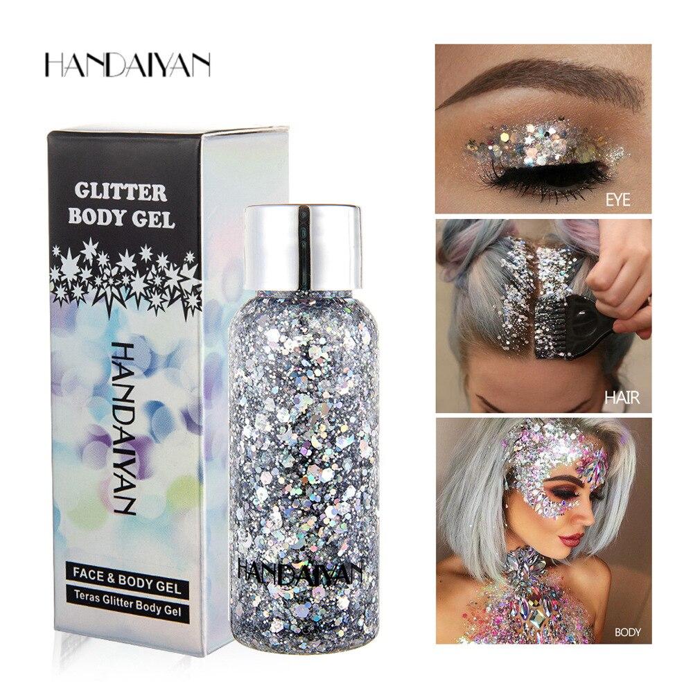 HANDAIYAN 8 Colors Glitter Shiny body Painting Gel Cream Face Glitter Body Art Eye Shadow Festival Party Eye Makeup Cream TSLM1