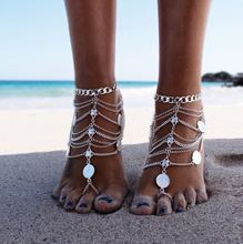 NECK ANKLET boho bohemian Silver Color Tassel Anklet Coin Pendant Chain Ankle Bracelet Foot Jewelry Barefoot Beach body jewelry