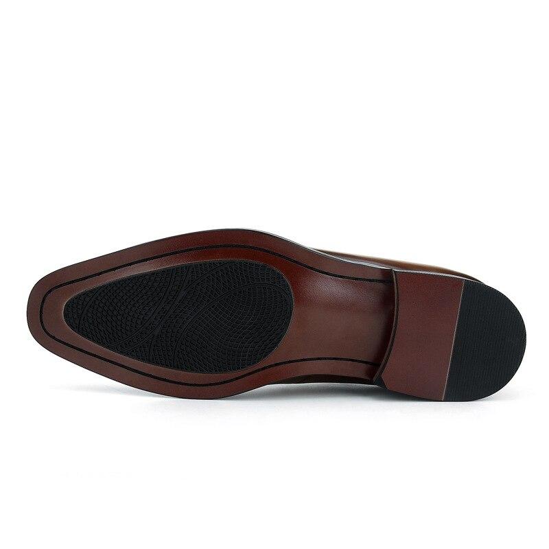 Mode noir/marron Tan robe de mariée chaussures en cuir véritable Oxfords hommes chaussures d'affaires - 5