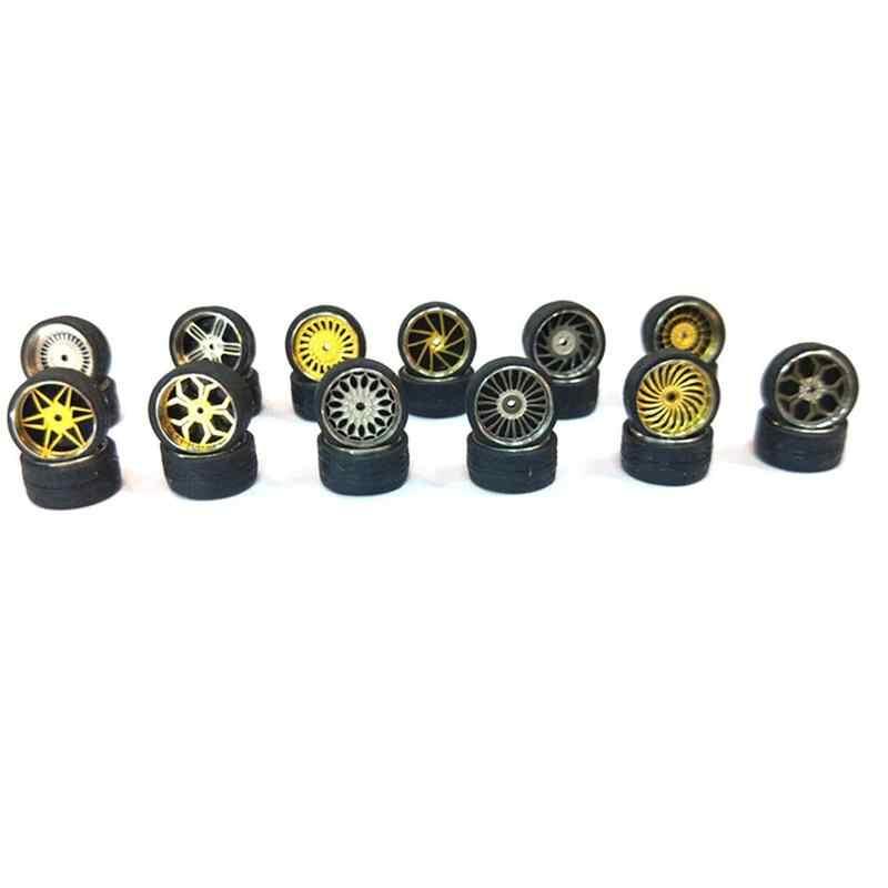 1: 64 Model Gemodificeerde Band Diecasts 4 wielen + 2 assen + 4end Caps Lichtmetalen Wiel Band Rubber Voertuigen Algemeen Model auto Veranderen Accessoire
