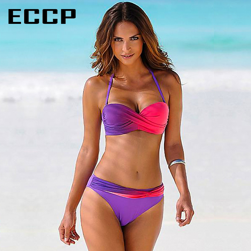 ECCP New 2018 bikinis push up Swimsuit Sexy Swimwear Women Retro Summer crochet Badpak bikini thong set Beach Swim Wear Bathing kayvis 2017 new bikinis women swimsuit retro push up bikini set vintage plus size swimwear bathing suit swim beach wear 3xl