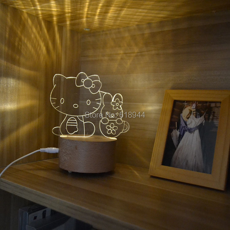 Hot Selling Wooden Modern LED 3D Desk Lamp Creative Fashion Bedroom Bedside Night Light Birthday Gift  Hello Kitty Melody 3d happy birthday led night light remote control or touch switch 7 color changing bedside lamp decor birthday gift iy803345 4