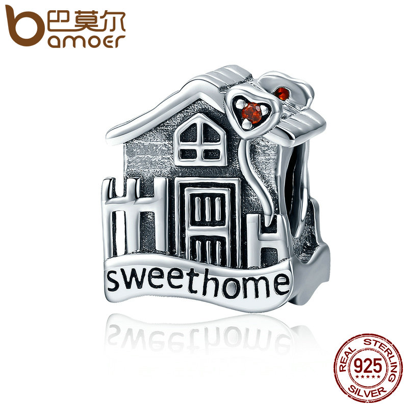 BAMOER Fashion New Genuine 100% 925 Sterling Silver Sweet Home Loft Villa Charms fit Bracelets DIY Fine Jewelry SCC416