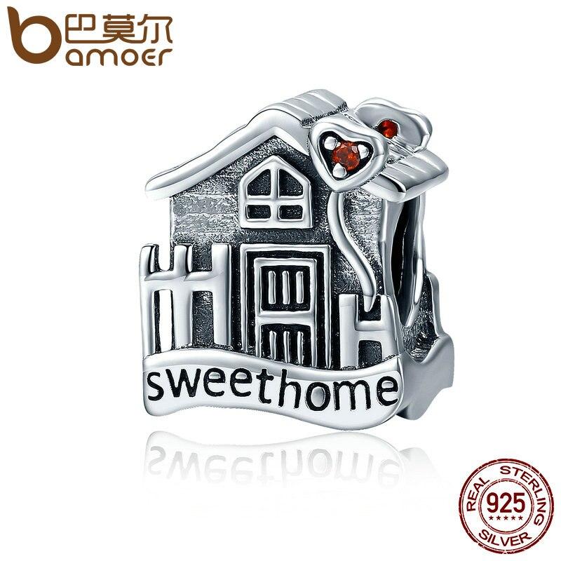 BAMOER Mode Nouvelle Véritable 100% 925 Sterling Argent Sweet Home Loft Villa Charmes fit Bracelets DIY Bijoux SCC416