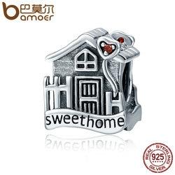 BAMOER Fashion New Genuine 100% 925 Sterling Silver Sweet Home Loft Villa Charms fit Bracelets DIY Fine Jewelry SCC416