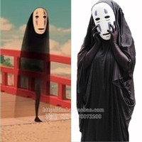 2017 Halloween Clothes Spirited Away Cos Cosplay Costume No Face Male with Mask Unisex Performace Role Play Faceless Man Trench