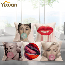 Print yixuan Cotton Linen Pillow Cover Audrey Hepburn Monroe Pattern Sofa Square Cushion Cover for Home Decor 45cmx45cm