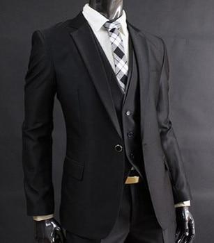 Black Men's Blazer Masculino Wedding Suits 2017 Tuxedo Custom Made Costume Homme Wedding Groom (jacket+pants+vest)