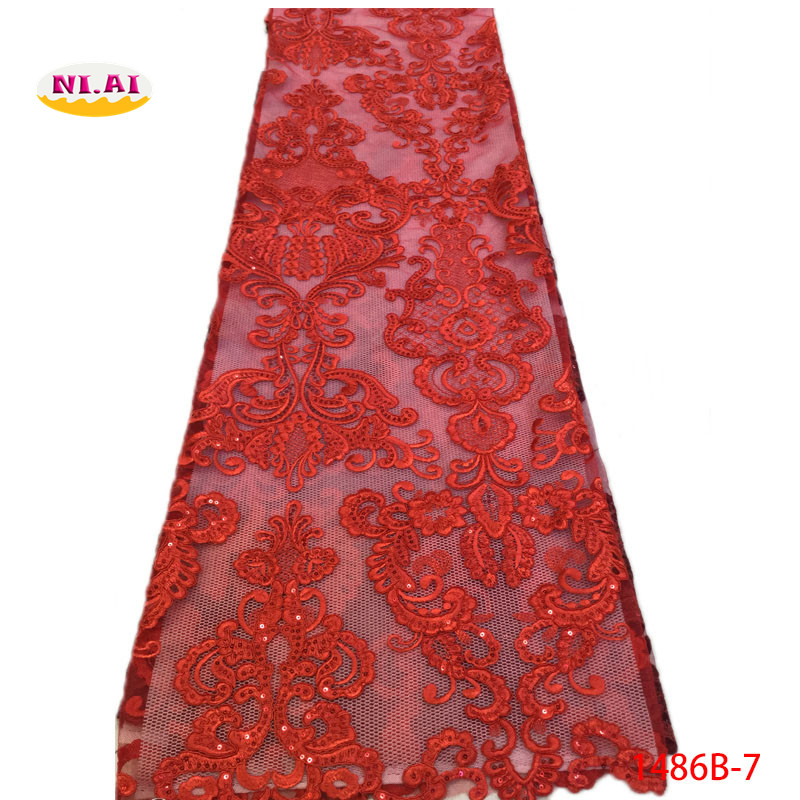 دانتيل بارزة إفريقية الأقمشة عالية الجودة 2018 الأحمر منسوجات الدانتيل للأفراح الديكور الملكي الأزرق الرباط زركشة الخياطة NA1486B 2-في دانتيل من المنزل والحديقة على  مجموعة 1