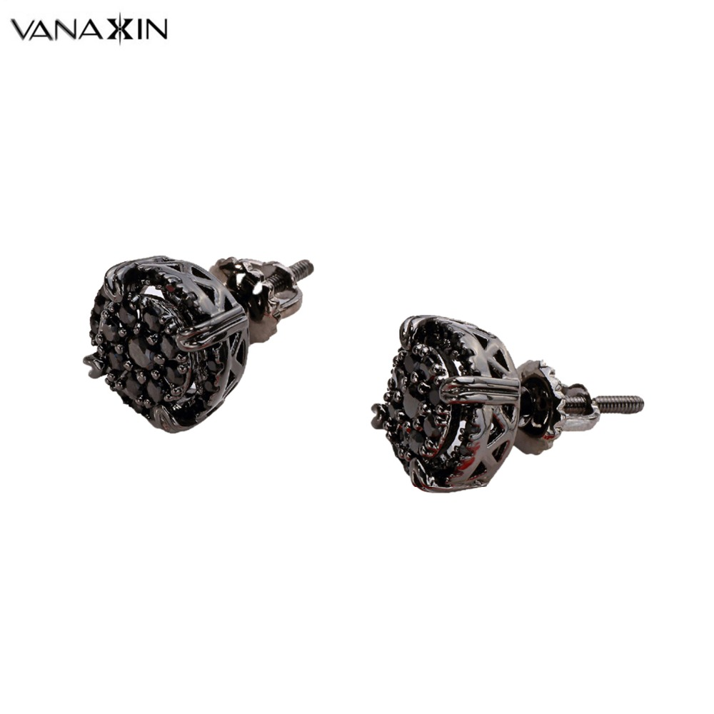 VANAXIN Bling Bling Gold Black Nickle Plated Earrings Mens Trendy Punk Stud Earrings Womens Paved AAA Cubic Zircons Crystal Box