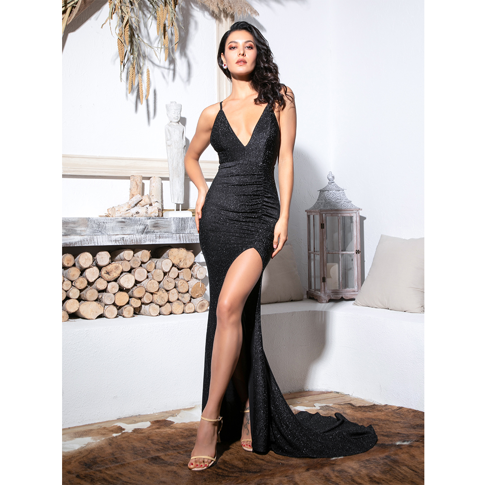 Black Deep V-neck Cut Out Bodycon Shiny Elastic Maxi Dress