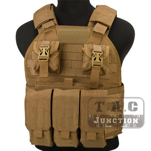 Emerson Tactical Compact High Speed Plate Carrier SPC Coyote Brown Adjustable Vest with Triple M4 M16 Magazine Mag Pouches
