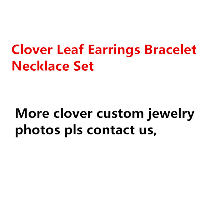 Famous brand imitation wedding Jewelry Set For Women silver flower Necklace Mother Shell Pearl Clover Leaf Earrings Bracelet a suit of vintage flower leaf necklace and earrings for women