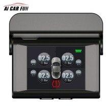 Универсальная система контроля давления в автомобильных шинах TPMS, ЖК-дисплей, солнечная энергия, 4 внешних датчика, система автоматической сигнализации