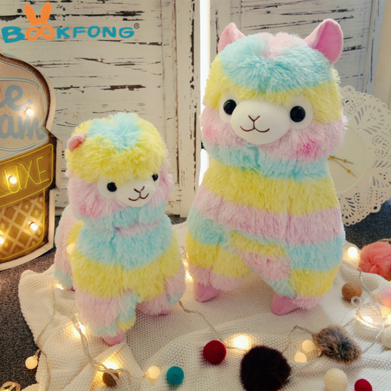 Lovely 35cm Rainbow Alpaca Vicugna Pacos Lama Arpakasso Alpacasso Stuffed Plush Doll Toy Kid Gift hot 45cm good night alpaca toys japan amuse alpacasso arpakasso plush stuffed doll kids alpaca christmas gifts toy 5styles