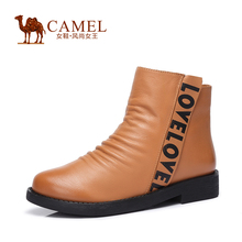 CAMEL women's boots 2015 new arrival casual boots genuine leather letter pleated zipper boots for women a54007623