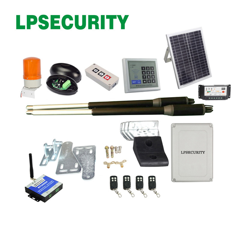 20W 17V Solar Panel Power System Swing steel wooden Gate Opener 24VDC Motor(photocell+lamp button gsm optional) galo 20w 17v solar panel power system linear actuator swing steel wooden gate opener 24vdc motor with infrared beams sonser