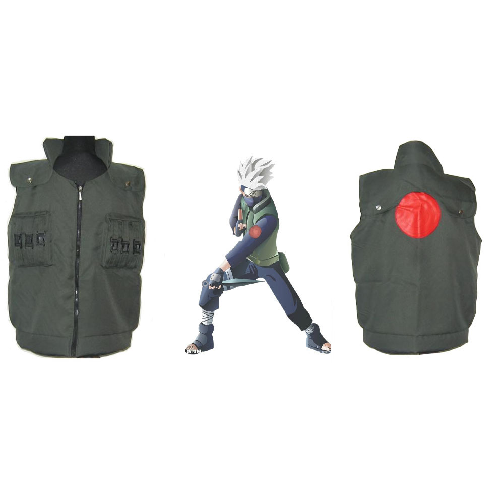 Anime Naruto Ninja Coat Costume Kakashi Hatake Cosplay Cartoon Green Vest  Uniform Party Cosplay Halloween Costume Prop Gift