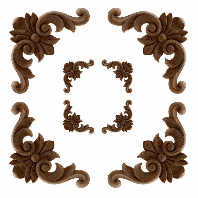 4 Pcs VZLX Vintage Unpainted Wood Carved Corner Onlay Applique Frame For Home Furniture Wall Cabinet Door Decor Crafts