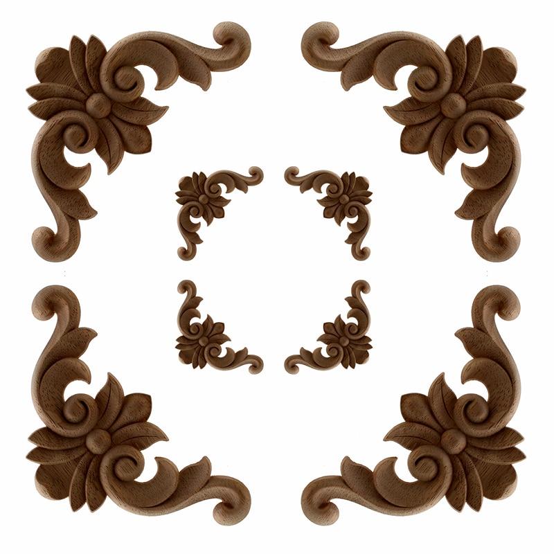 4 Pcs VZLX Vintage Unpainted Wood Carved Corner Onlay Applique Frame For Home Furniture Wall Cabinet Door Decor Crafts
