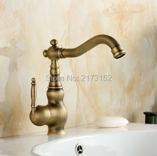 Free Shipping Deck Mounted Antique Brass Bathroom Faucet Long Mouth Swivel Brass Basin Sink Mixer Tap A-041 1 piece free shipping anodizing aluminium amplifiers black wall mounted distribution case 80x234x250mm
