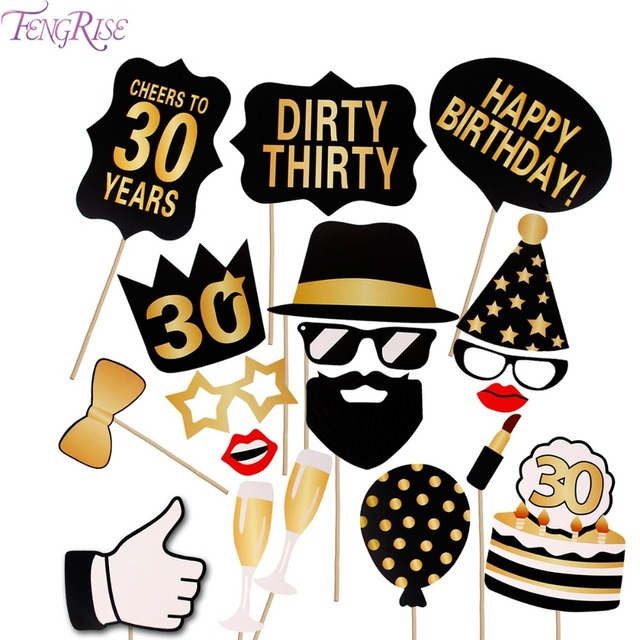 FENGRISE 36 Pieces Photo Booth Gold Black 30th Birthday Man Woman Glasses Moustache Photobooth Happy Party Supplies