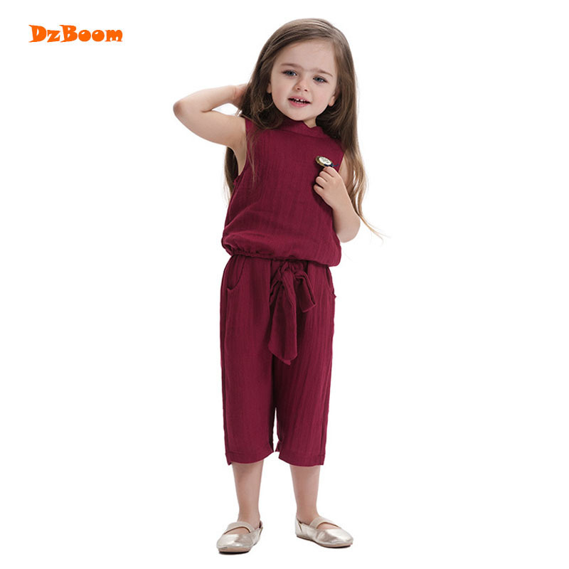 DzBoom Fashion Girls Solid Sleeveless Clothing Set Kids Summer Clothes 2017 New O-neck Children Wine Cotton Suits Two Piece fashion summer kids girls clothing set striped shirt coat pant 3pcs cotton children girls suits sportwear orange clothes aa5390
