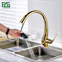 Free Shipping Pull Out Gold Kitchen Faucets, Hot and Cold Vegetables Basin Rotating Taps All Copper Kitchen Sink Mixer Faucet copper hot and cold pull out type kitchen faucet rotating retractable belt shower vegetables basin sink brushed
