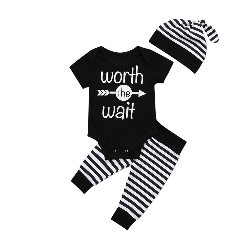 Newborn Baby Boys Short Sleeve Striped Romper Pants 3Pcs Set Outfits Clothes