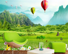 beibehang papel de parede Seductive wallpaper fresh grass mountain hot air balloon 3D TV backdrop wall for walls 3 d