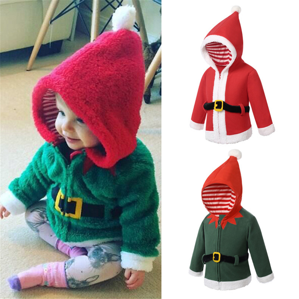 Cosplay christmas green elf santa claus uniform kids hooded zipper plus velvet jacket Sweatshirt baby winter christmas costumes