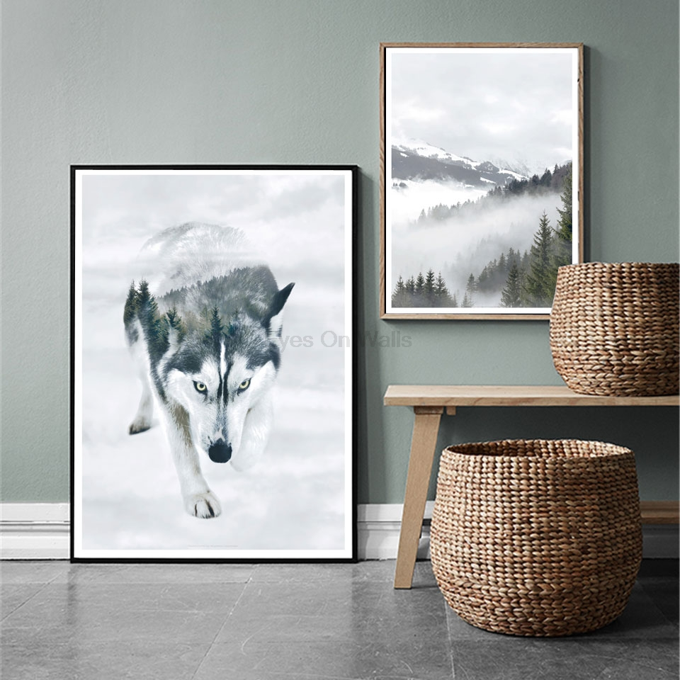 Nordic Siberian Husky Portrait Animal Wolf Double Exposure Poster Prints Snowscape Forest Painting Art For Living Room Home Dcor