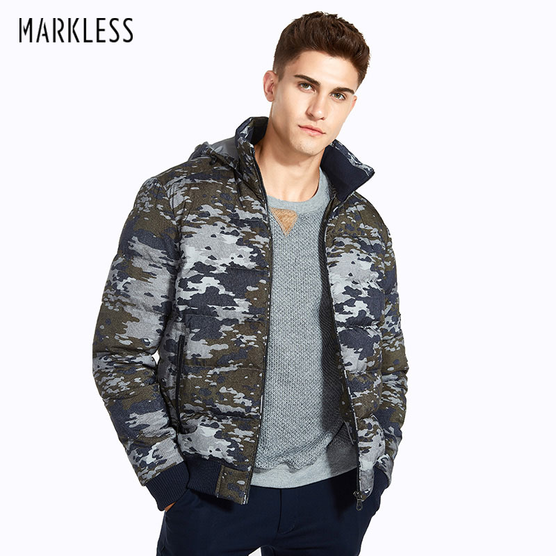 Markless Men Camouflage printing Winter Coats Brand Clothing Casual Hooded Cotton Jackets Warm Outwear