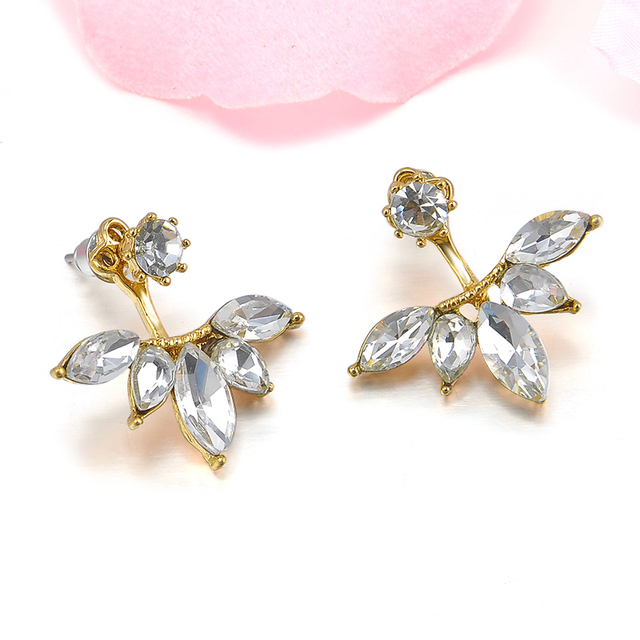 Korean Gold and Silver Plated Leave Crystal Stud Earrings