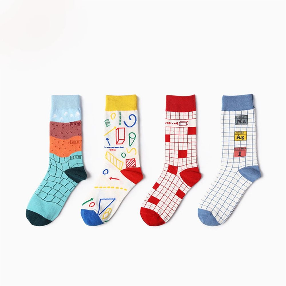 Funny Striped Men Short Socks Casual Cotton Harajuku Graffiti Creative Geometry Students Ankle Socks Summer