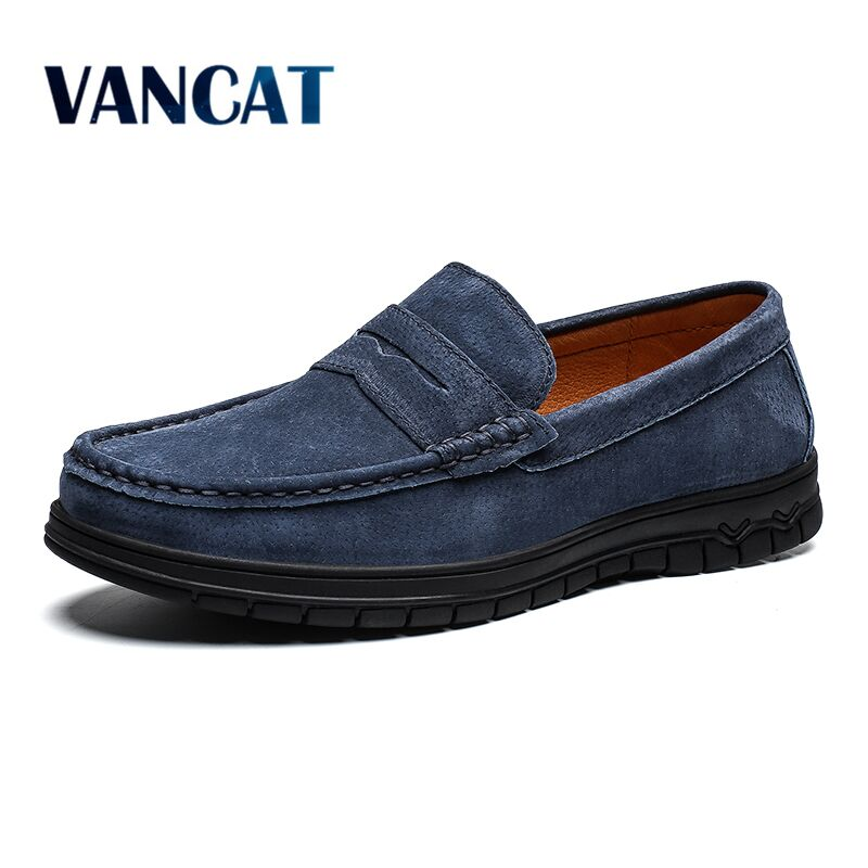 Vancat Brand Cow Suede Leather Men Flats 2019 New Men Casual Shoes High Quality Men Loafers Moccasin Driving Shoes Big Size39-46