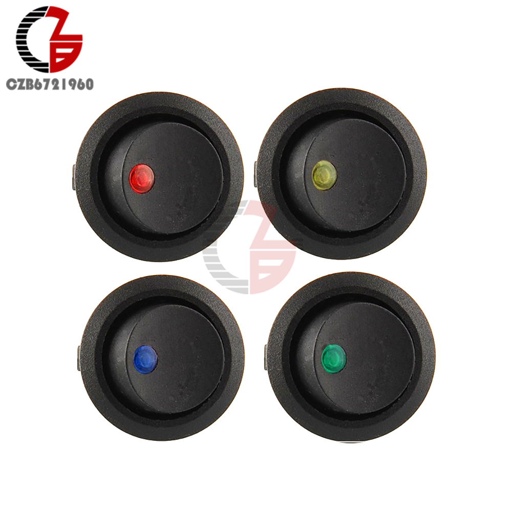 12v-led-dot-light-car-switch-auto-boat-round-rocker-3pin-on-off-toggle-spst-switch-4-colors-blue-yellow-red-green