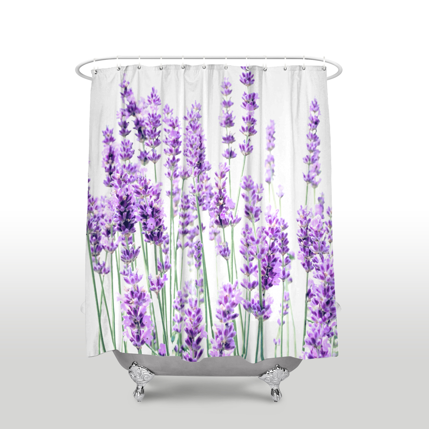 Lavender Shower Curtains New Arrival Waterproof Lavender Shower Curtain With Hooks Polyester Fabric Flower Pattern Bathroom Curtains For Home Decor