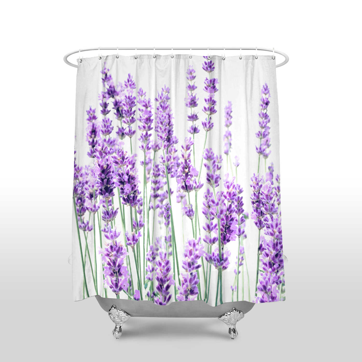 new arrival waterproof lavender shower curtain with hooks polyester fabric flower pattern bathroom curtains for home decor