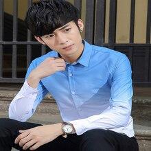 Gradient Spring Korean Shirt Men Oversized Casual High Quality Cotton S