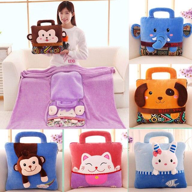 Brinquedos de pelúcia Do Gato Do Cão Macaco Kawaii Bichos de pelúcia Macia Almofada cobertor travesseiro cadeira de Escritório/Carro/Pausa para o Almoço Travesseiro Cobertor para a Cadeira