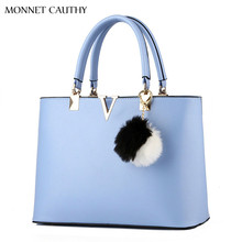 MONNET CAUTHY 2017 New Bags Woman Candy Color Blue Lavender Pink White Red Top Handle Bag Fashion Socialite Sweet Girls Handbags