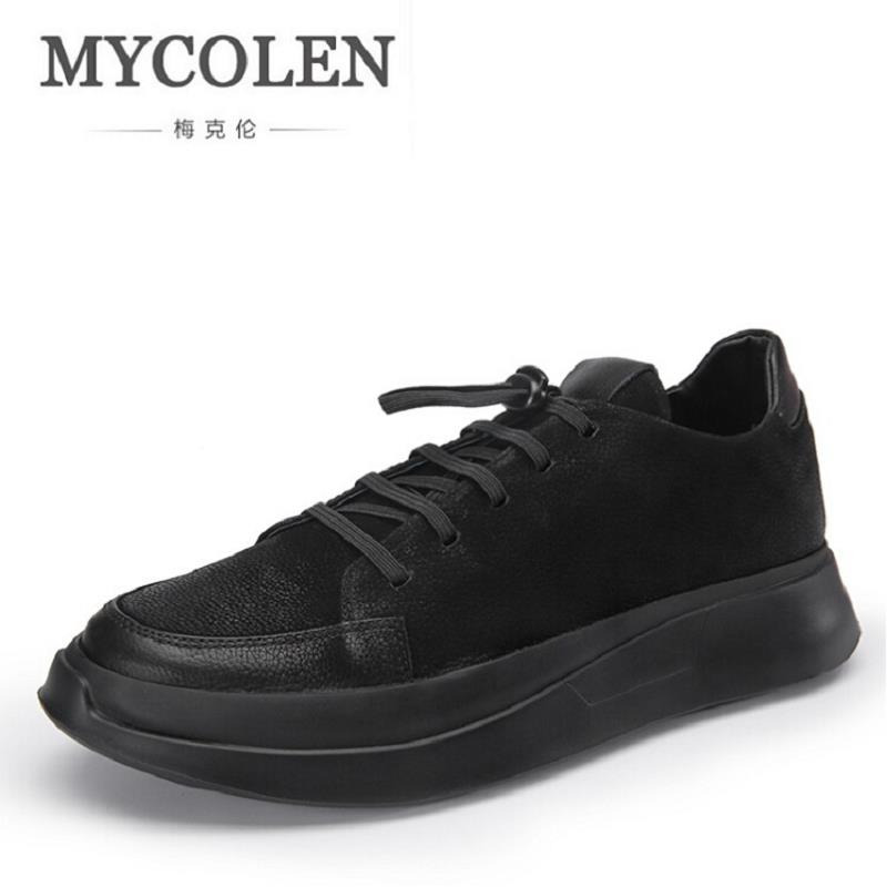 MYCOLEN New Men Casual Shoes Lace Up Fashion Brand Shoes Flats Men Breathable Shoes Classic Mens Shoes Black zapatos hombre цена 2017