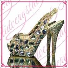Aidocrystal custom made Ladies Peep Toe Slingback dimond High Heel Dress Shoes For Ladies Shoes