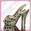 Dimond Aidocrystal por encargo de Las Señoras Peep Toe Slingback Zapatos de Vestido Del Alto Talón Para Las Señoras Zapatos