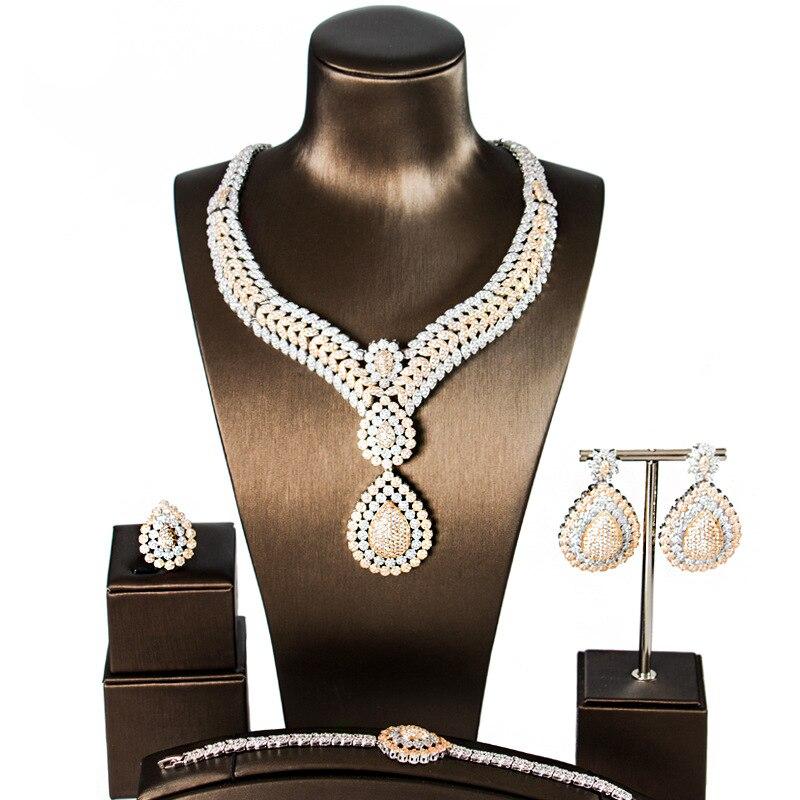 Nouveau 5A Cubique Zircon 4 pièces Ensemble De Bijoux Pour Mariage Femme Dubai Cuivre Ensembles de Collier Avec Boucles D'oreilles Bracelet Bague