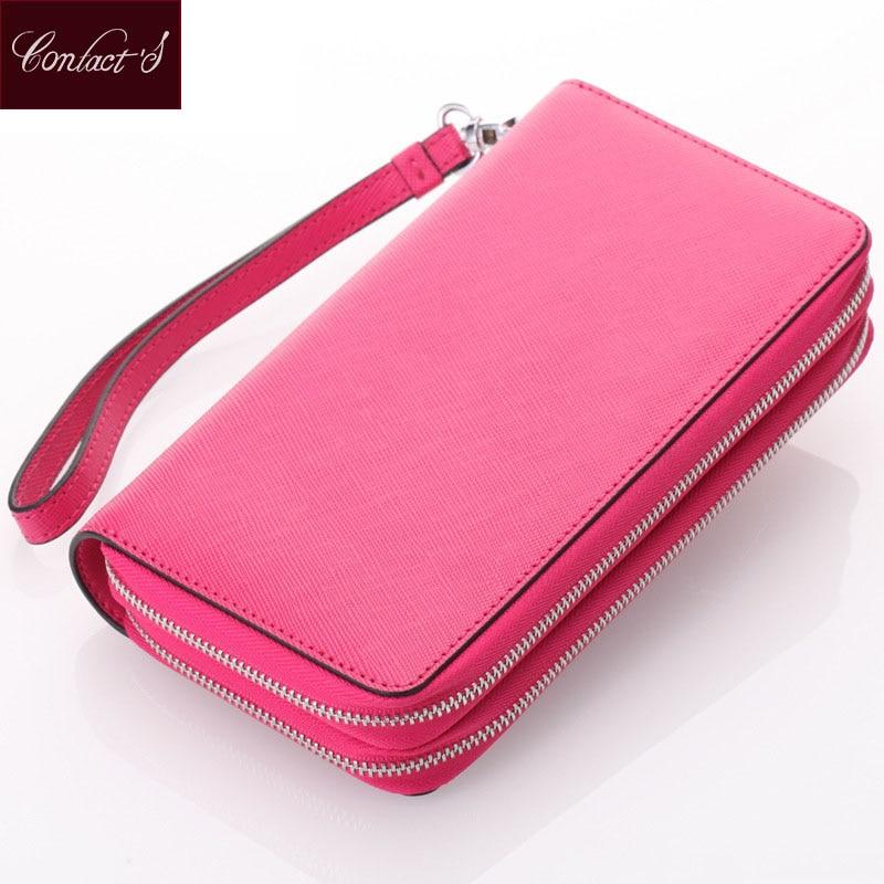 As mulheres do contato embreagem a bolsa fêmea do couro genuíno da carteira Zipper dobro em torno da senhora Wristlet Bag Suportes de cartão da bolsa do telefone