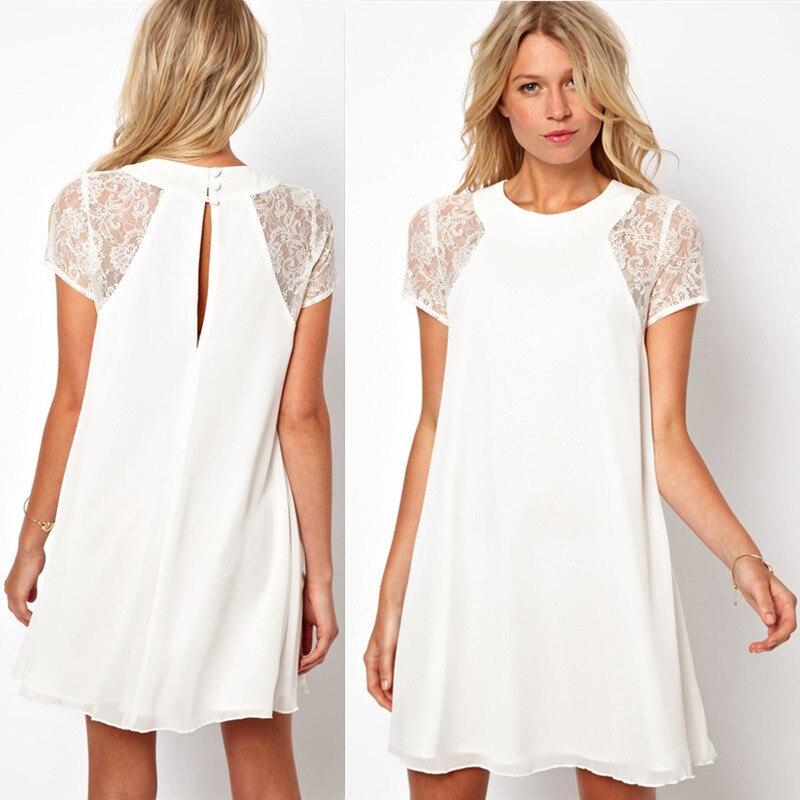 Women Summer Casual Dresses Lace Short Sleeve White Back Chiffon