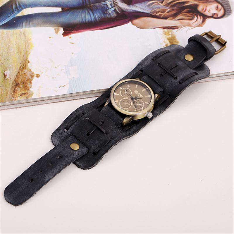 Splendid summer style New Style Retro Punk Rock Brown Big Wide Leather Bracelet Cuff Men Watch Cool щетка насадка для пола york паула без ручки цвет медный