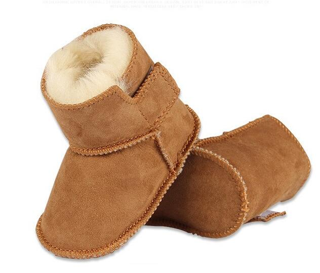 Toddler First Walkers Genuine Leather Winter Keep Warm Shoes Sheepskin With Fur Baby Booties Solid Newborn Baby First Shoes